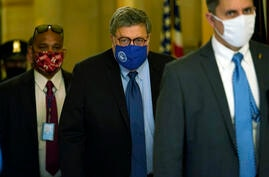 Attorney General William Barr leaves the office of Senate Majority Leader Mitch McConnell of Ky., on Capitol Hill in Washington…