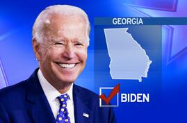 JOE BIDEN headshot, as Democratic presidential nominee, with GEORGIA lettering, and check mark, on map texture, finished graphic