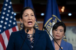 FILE - In this March 5, 2020, file photo Rep. Deb Haaland, D-N.M., Native American Caucus co-chair, joined at right by Rep…