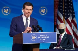 Former South Bend, Ind. Mayor Pete Buttigieg, President-elect Joe Biden's nominee to be transportation secretary reacts to his…