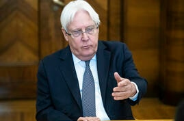 United Nations Special Envoy to Yemen Martin Griffiths speaks during his meeting with Russian Foreign Minister Sergey Lavrov in…