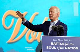 Democratic presidential candidate former Vice President Joe Biden speaks at a drive-in rally at the Florida State Fairgrounds,…
