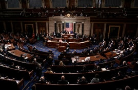 Speaker of the House Nancy Pelosi, D-Calif., and Vice President Mike Pence officiate as a joint session of the House and Senate…