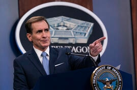 Pentagon spokesman John Kirby speaks during a media briefing at the Pentagon, Thursday, Jan. 28, 2021, in Washington. (AP Photo…