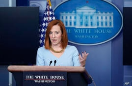 White House press secretary Jen Psaki speaks during a press briefing at the White House, Wednesday, Feb. 10, 2021, in…