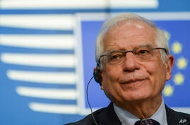 European Union foreign policy chief Josep Borrell speaks during a media conference after a meeting of EU foreign ministers at…