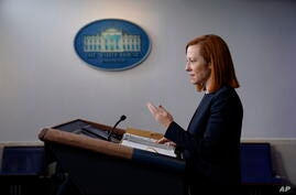 White House press secretary Jen Psaki speaks during a press briefing at the White House, Friday, Feb. 12, 2021, in Washington. …