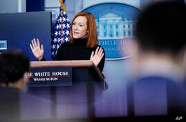 White House press secretary Jen Psaki speaks during a press briefing at the White House, Tuesday, Feb. 16, 2021, in Washington…