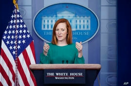 White House press secretary Jen Psaki speaks during a press briefing at the White House, Monday, March 15, 2021, in Washington…
