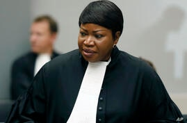 FILE - In this Tuesday Aug. 28, 2018 file photo, Prosecutor Fatou Bensouda at the International Criminal Court (ICC) in The…