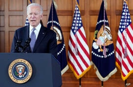 President Joe Biden speaks after meeting with leaders from Georgia's Asian-American and Pacific Islander community, Friday,…