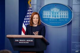 White House press secretary Jen Psaki speaks during a briefing at the White House, Monday, March 29, 2021, in Washington. (AP…