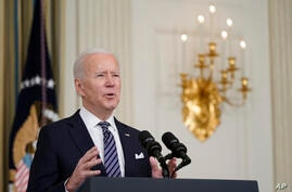 President Joe Biden speaks about the COVID-19 relief package in the State Dining Room of the White House, Monday, March 15,…