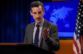 U.S. State Department Spokesman Ned Price speaks during a news briefing at the State Department in Washington, Thursday, Feb…
