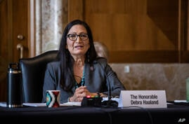 Rep. Deb Haaland, D-N.M., speaks during a Senate Committee on Energy and Natural Resources hearing on her nomination to be…