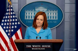 White House press secretary Jen Psaki takes a question at a press briefing at the White House, Thursday, April 8, 2021, in…