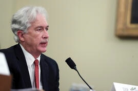 CIA Director William Burns testifies during a House Intelligence Committee hearing on Capitol Hill in Washington, Thursday,…