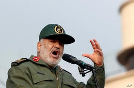 Chief of Iran's Revolutionary Guard Gen. Hossein Salami speaks at a pro-government rally denouncing last week's violent…