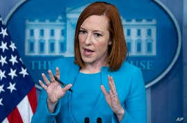 White House press secretary Jen Psaki speaks during a briefing at the White House, Thursday, May 13, 2021, in Washington. (AP…
