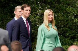 White House senior advisers Jared Kushner and Ivanka Trump, arrive on the South Lawn for a ceremony for the signing of the…