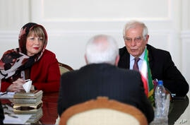European Union foreign policy chief Josep Borrell, right, and Helga Schmid, Secretary General of the European External Action…