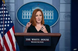 White House press secretary Jen Psaki speaks during a briefing at the White House, Tuesday, May 4, 2021, in Washington. (AP…