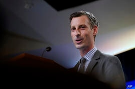 State Department spokesman Ned Price speaks at the State Department in Washington, Wednesday, March 31, 2021. (AP Photo/Carolyn…