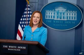 White House press secretary Jen Psaki speaks during a press briefing at the White House, Wednesday, June 2, 2021, in Washington…