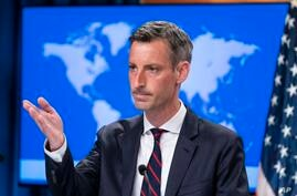 State Department spokesperson Ned Price pauses while speaking during a media briefing at the State Department, Wednesday, July…