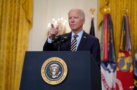 President Joe Biden speaks about the American troop withdrawal from Afghanistan, in the East Room of the White House, Thursday,…