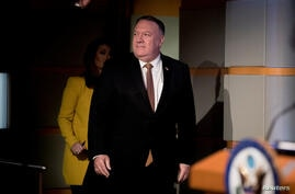 U.S. Secretary of State Mike Pompeo holds a news conference at the State Department in Washington