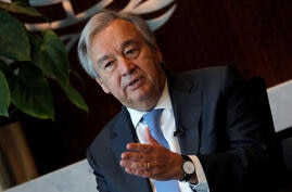 FILE PHOTO: United Nations Secretary-General Antonio Guterres during interview with Reuters at U.N. headquarters in New York
