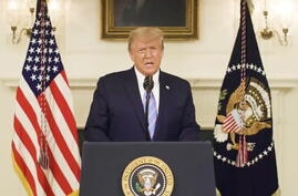 U.S President Donald Trump gives an address a day after his supporters stormed the U.S. Capitol in Washington