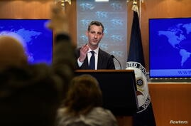 U.S. State Department spokesman Ned Price speaks at his first daily press briefing at the State Department in Washington