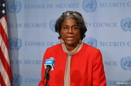 New US Ambassador to the United Nations, Linda Thomas-Greenfield speaks after meeting with UN Secretary-General Antonio Guterres at the United Nations