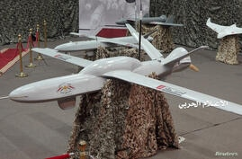 FILE PHOTO: Drone aircrafts on display at an exhibition at an unidentified location in Yemen