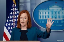 White House Press Secretary Jen Psaki speaks during a news conference at the White House in Washington