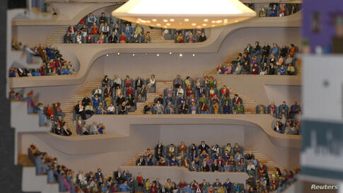 """The model of the Elbphilharmonie (Philharmonic Hall) during the opening ceremony of the concert house at the """"Miniature-Wonderland"""" in Hamburg, Germany, Nov. 13, 2013."""