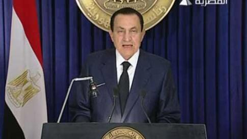 In this image from Egyptian state television aired Tuesday evening Feb. 1, 2011, Egyptian President Hosni Mubarak delivers an address announcing he will not run for a new term in office in September elections, but rejected demands that he step down immedi