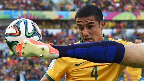 Australia's Tim Cahill, left, watches as Netherlands' Ron Vlaar clears the ball during the group B World Cup soccer match between Australia and the Netherlands at the Estadio Beira-Rio in Porto Alegre, Brazil.