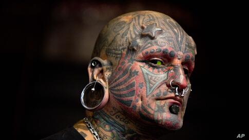 Victor Peralta is seen during the 10th annual Buenos Aires Tattoo Show in Buenos Aires, Argentina, Mar. 7, 2014.