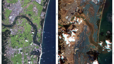 The shore of Japan is seen before (L) and after a tsunami hit the area in this combination photo of satellite images provided by the German Aerospace Center. Pictures taken September 5, 2010 (L) and March 12, 2011. (REUTERS/DLR/Rapid Eye)