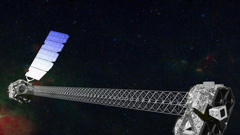 Artist's concept of NuSTAR on orbit that shows its 1- meter mast that separates the optics modules (right) from the detectors in the focal plane (left).  (NASA)