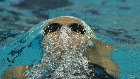 Ukraine's Daryna Zevina competes in the Women's 200-meter backstroke final at the Fina Swimming World Cup at National Aquatic Center in Beijing, China.