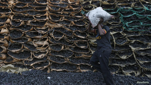 A worker carries a bag containing coals to sell at one of the charcoal sites in Jeddah, Saudi Arabia.