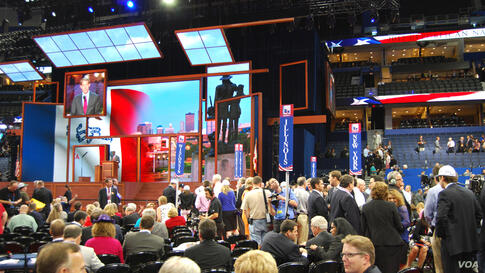 The stage backdrop changes to show images from the home state of the current speaker at the convention. (J. Featherly/VOA)