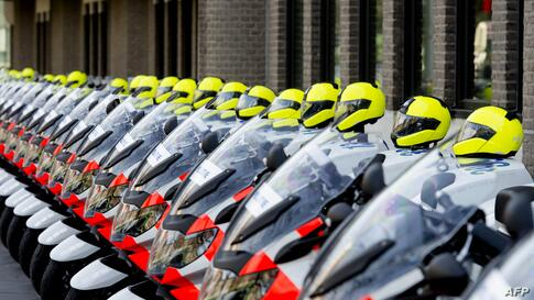 Motorbikes of the Dutch motor brigade are parked at the Ministry of Foreign Affairs in The Hague, Netherlands. The Nuclear Security Summit (NSS) is scheduled to be held on March 24 and 25.