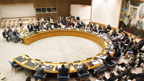 A wide view of the United Nations Security Council as it meets on the situation in Syria, 27 April 2011