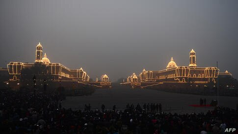 The Central Secretariat and Parliament buildings are illuminated during the Beating Retreat Ceremony at Vijay Chowk in New Delhi, India. The ceremony is a culmination of Republic Day celebrations, and dates back to the days when troops disengaged thems...
