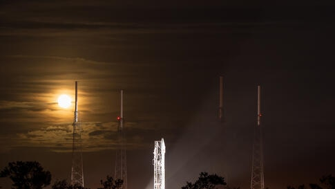A full Moon rises behind the United Launch Alliance Atlas V rocket with NASA's Mars Atmosphere and Volatile Evolution (MAVEN) spacecraft onboard at the Cape Canaveral Air Force Station Space Launch Complex 41, Cape Canaveral, Florida. MAVEN began it's ...